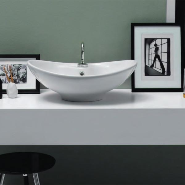 Lavabo da appoggio 60 cm opera sanitari simply in ceramica bianco