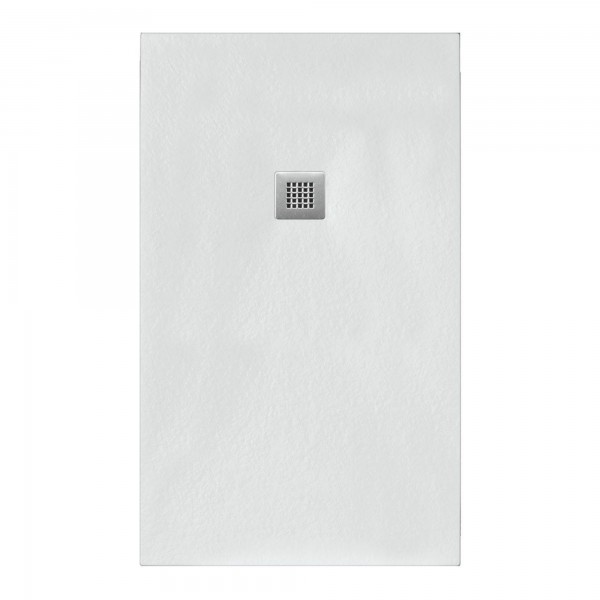Piatto doccia bianco 90x140 in mineral marmo sp 3cm con piletta inclusa
