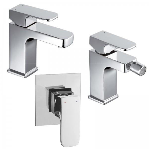 Set miscelatori bagno quaranta maite lavabo bidet e incasso doccia in ottone cromo