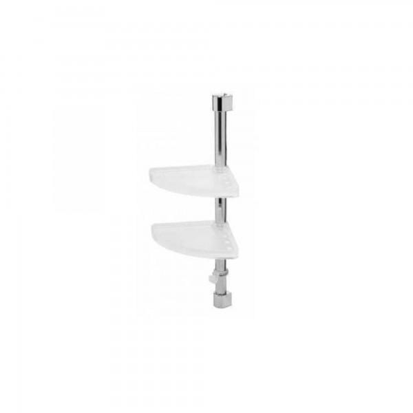 Mensola angolare per doccia a due ripiani orientabili cromo/resine termoplastiche