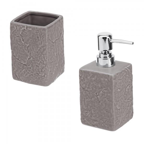 Set accessori bagno artep due pezzi grigio effetto pietra con dispenser e portaspazzolini