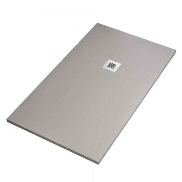 Piatto doccia ultraflat cemento 80x100 h.2,8 in mineral idealstar con griglia inox