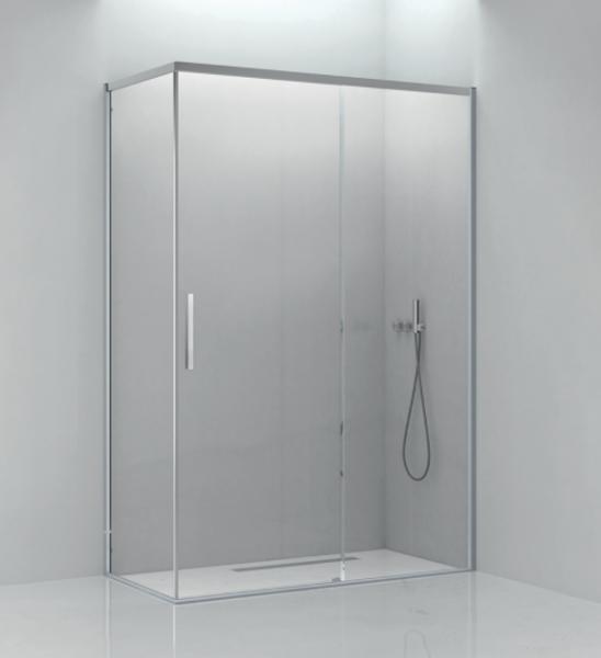 Box doccia 80x120 cm con lato fisso e porta scorrevole in cristallo trasparente