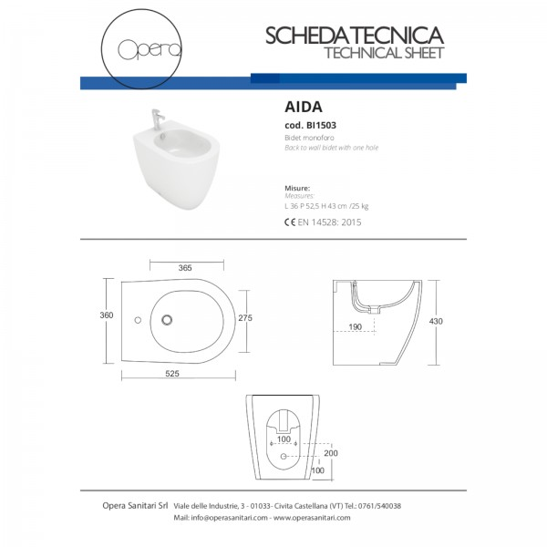 Sanitari filomuro opera sanitari aida scarico universale in ceramica bianchi con copriwc avvolgente