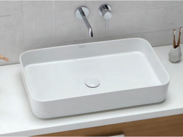 Lavabo da appoggio lama da 65 cm in ceramica bianco