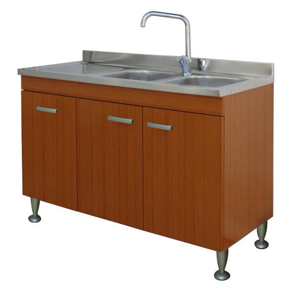 Mobile da cucina 120x50 cm teak a tre ante con lavello in acciaio inox e gocciolatoio a sx