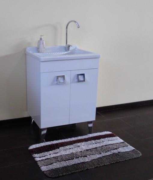Lavatoio con piedi 60x50 bianco lucido con vasca in polipropilene