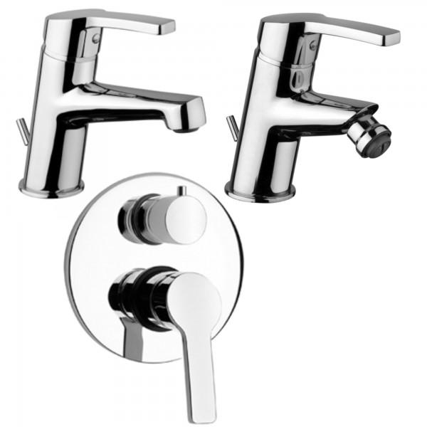 Set miscelatori bagno piralla laila lavabo bidet e incasso doccia con deviatore termostatico