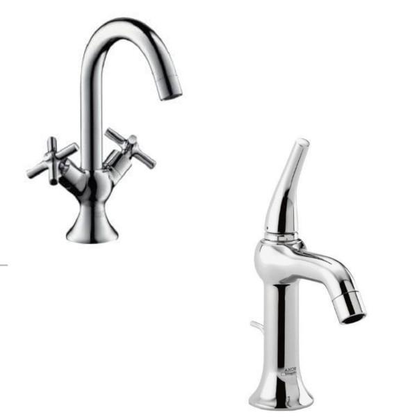 Set rubinetti bagno lavabo e bidet hansgrohe axor terrano con scarico tradizionale in ottone cromo