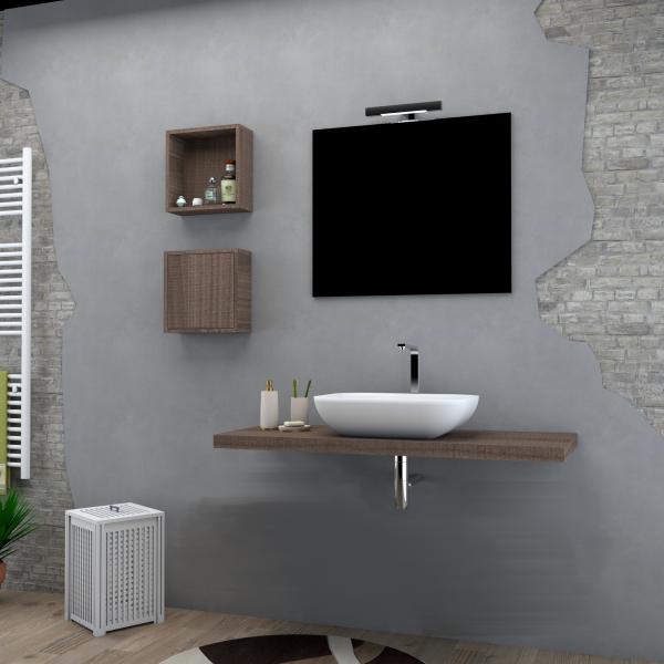 Top in legno da 123 cm senza foro color noce con specchio e lampada led