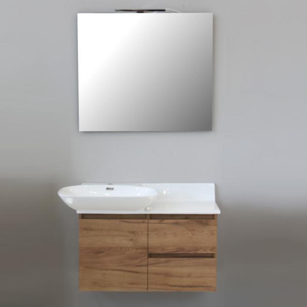 Mobile sospeso da 90 cm rovere chiaro con anta e doppio cassetto specchio e lampada led