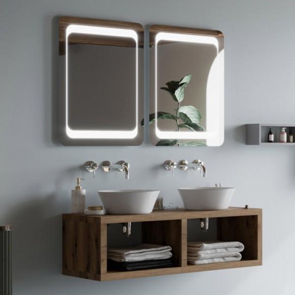 Composizione bagno sospesa da 120 cm rovere naturale con specchio filo lucido reversibile