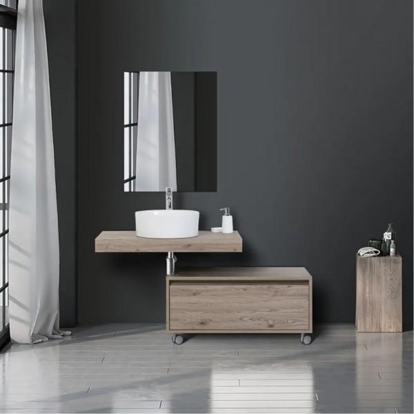 Top idrofugo castagno da 90 cm sp. 8 cm con lavabo da appoggio in ceramica