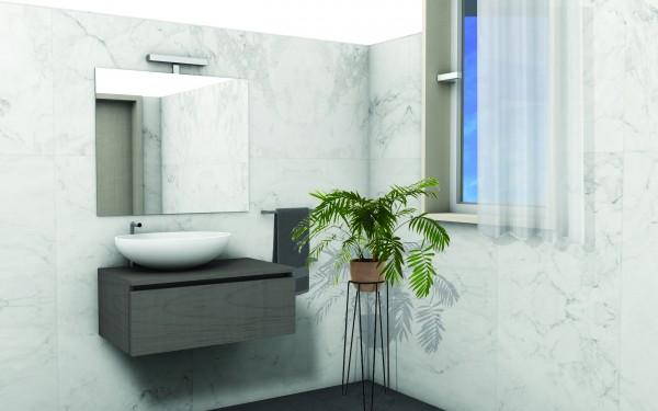 Mobile bagno da 80 cm olmo onyx per lavabo d'appoggio con specchio e lampada led