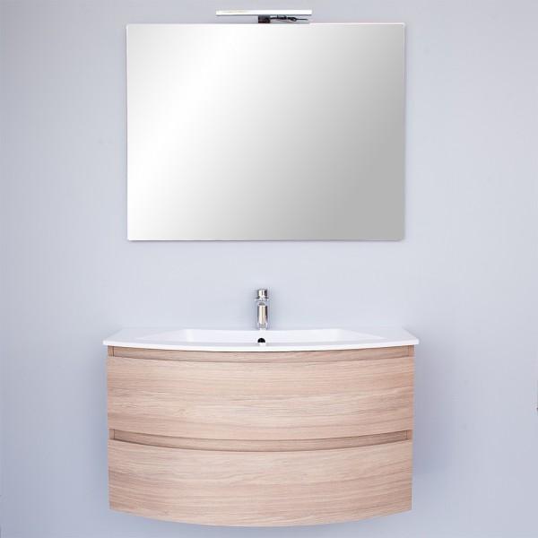 Mobile sospeso stondato da 90 cm rovere chiaro doppio cassettone con specchio led