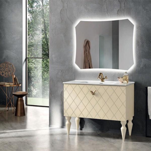 Composizione bagno coco 102 cm avorio con piedi in faggio sagomato e specchio filolucido