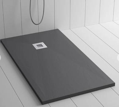 Piatto doccia antracite 80x110 in mineral marmo sp 3cm con piletta inclusa