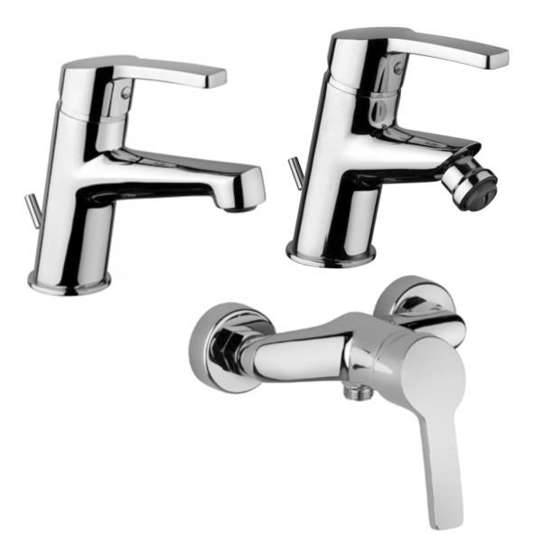 Set miscelatori monocomando bagno piralla laila lavabo bidet ed esterno doccia in ottone cromo