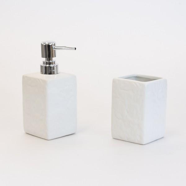 Set accessori bagno artep due pezzi bianco effetto pietra con dispenser e portaspazzolini