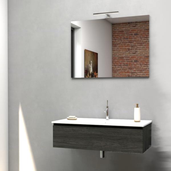 Mobile bagno da 80 cm olmo onyx con specchio e lampada led