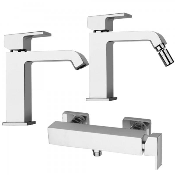 Set miscelatori monocomando bagno piralla sorgente lavabo bidet e esterno doccia in ottone cromo