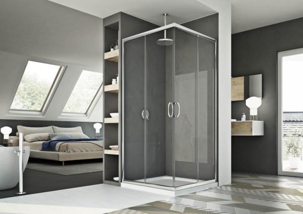 Box doccia 80x100 cm con apertura angolare in cristallo trasparente serie smart