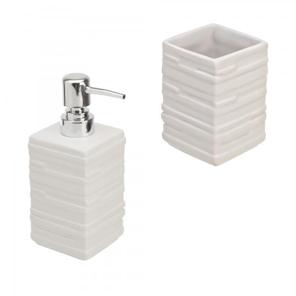 Set accessori bagno bric due pezzi beige effetto pietra con dispenser e portaspazzolini