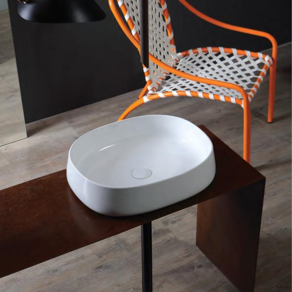 Lavabo bianco da appoggio 62 cm opera sanitari aida in ceramica