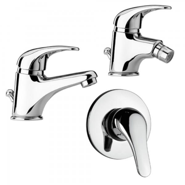 Set miscelatori monocomando bagno piralla zoe lavabo bidet e incasso doccia in ottone cromo