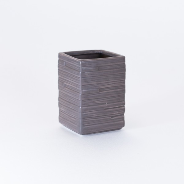 Portaspazzolino in ceramica tortora effetto pietra