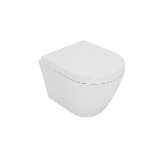 Vaso sospeso opera laguna senza brida in ceramica bianco opaco con sedile avvolgente