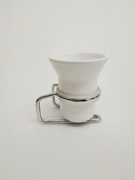 Portabicchiere cromo e ceramica bagno più