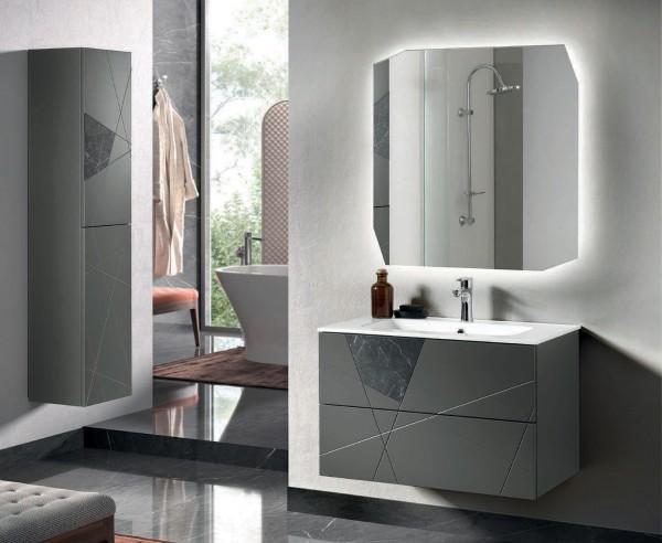 Composizione da bagno crizia 82 sospesa antracite opaco e inserti in vetro in marmo nero