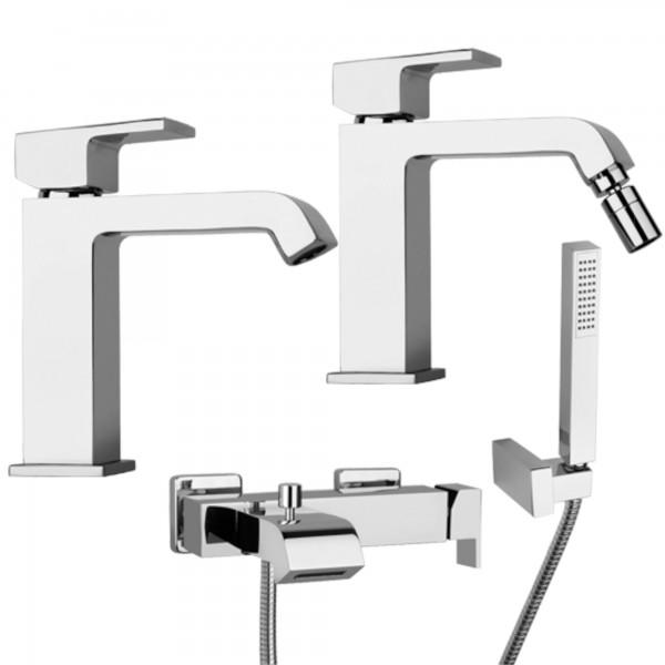 Set miscelatori bagno piralla sorgente lavabo bidet e esterno vasca con doccetta ottone cromo