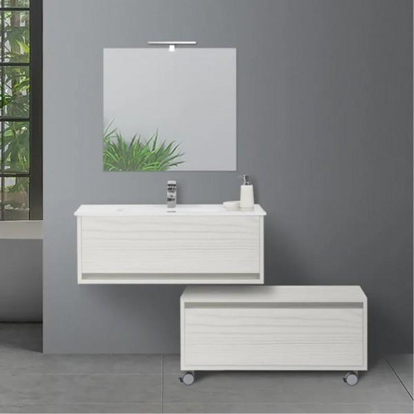 Mobile sospeso da 90 cm pino bianco con doppio cassettone sfalsato e specchio