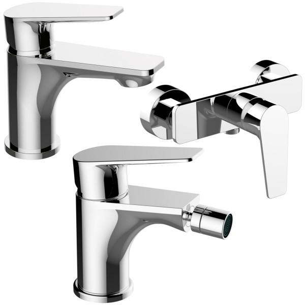Set miscelatori bagno quaranta sprint lavabo bidet e esterno doccia senza duplex in ottone cromato