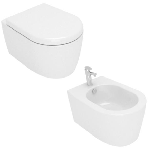 Sanitari rimless sospesi opera sanitari aida in ceramica bianchi con copriwc avvolgente soft close