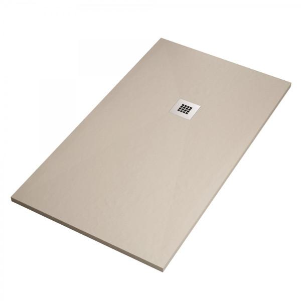 Piatto doccia ultraflat crema 80x100 h.2,8 in mineral con griglia inox
