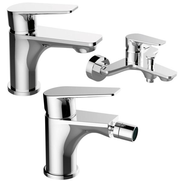 Set miscelatori bagno quaranta sprint lavabo bidet e esterno vasca con duplex in ottone cromato