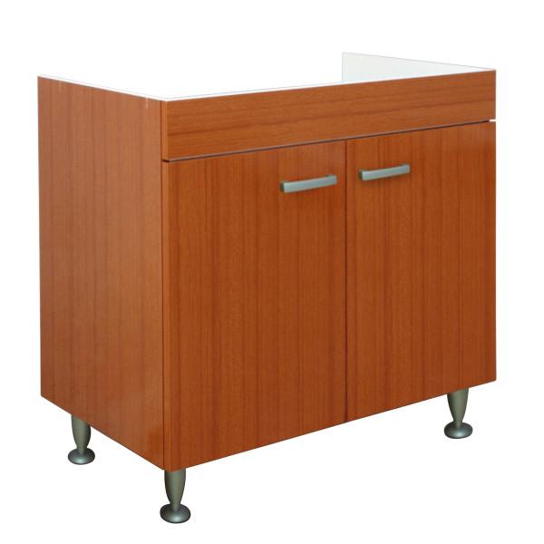Mobile sottolavello da cucina 80x50 cm teak a due ante per lavello in acciaio inox