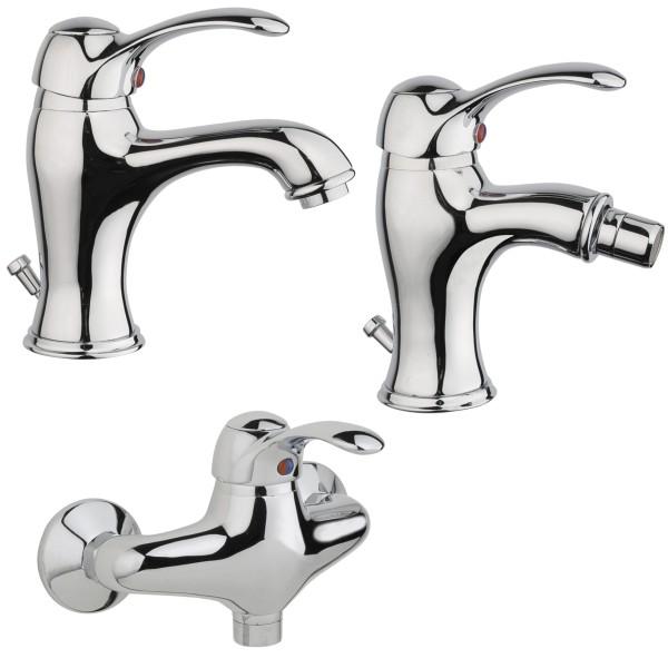 Set miscelatori bagno classico quaranta jolly lavabo bidet ed esterno doccia in ottone cromo