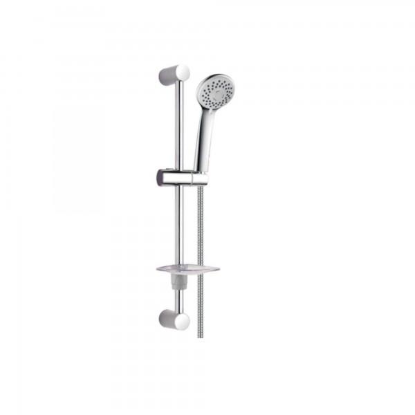 Saliscendi doccia con doccetta 2 getti e vassoio portasapone