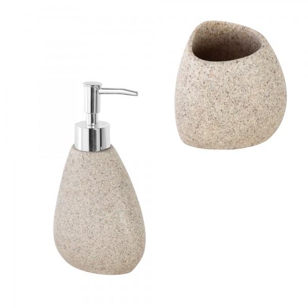Set accessori bagno effetto pietra con dispenser e portaspazzolini