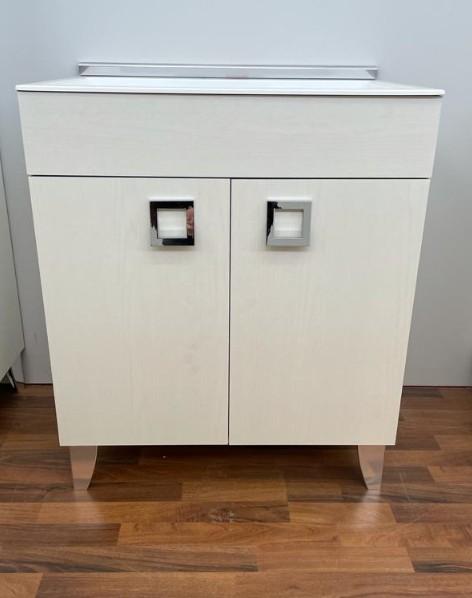 Lavatoio per interno 50x50 frassino moire con vasca in granito bianca
