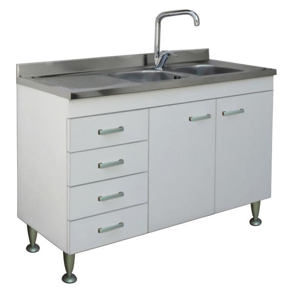 Mobile da cucina 120x50 cm bianco con lavello in acciaio inox con gocciolatoio a sinistra