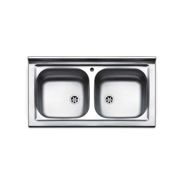 Lavello d'appoggio in acciaio inox 90x50 doppia vasca
