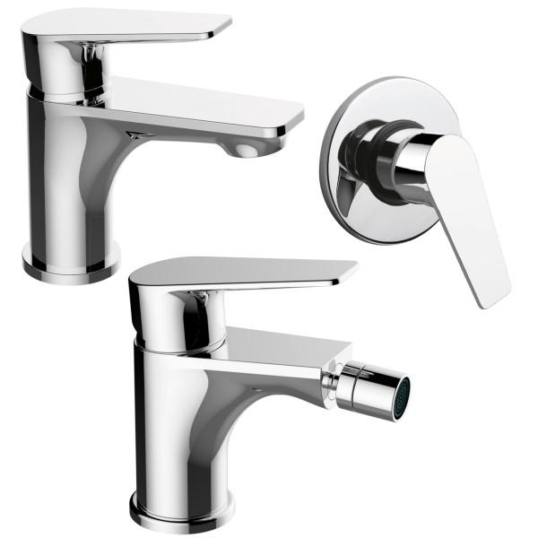 Set miscelatori monocomando bagno quaranta sprint lavabo bidet e incasso doccia in ottone cromo
