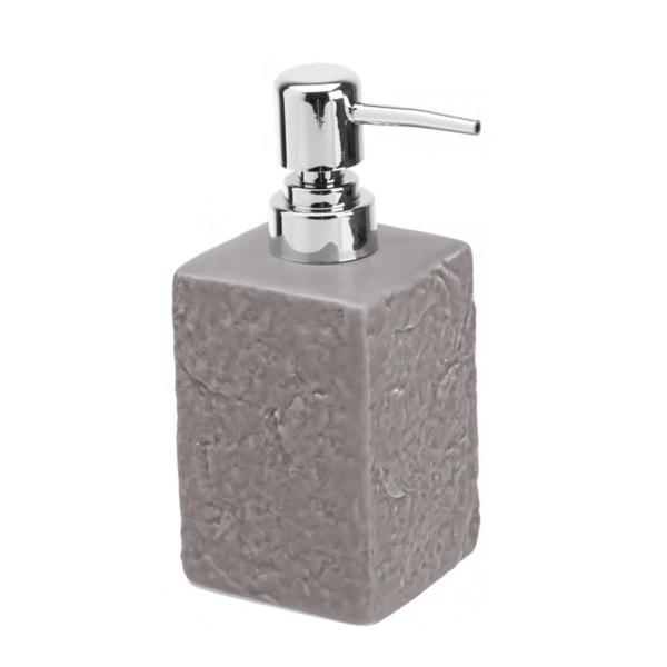 Dispenser sapone in ceramica grigio effetto pietra