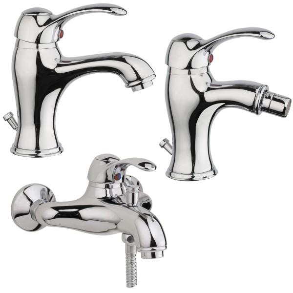 Set miscelatori bagno classico quaranta jolly lavabo bidet ed esterno vasca con duplex