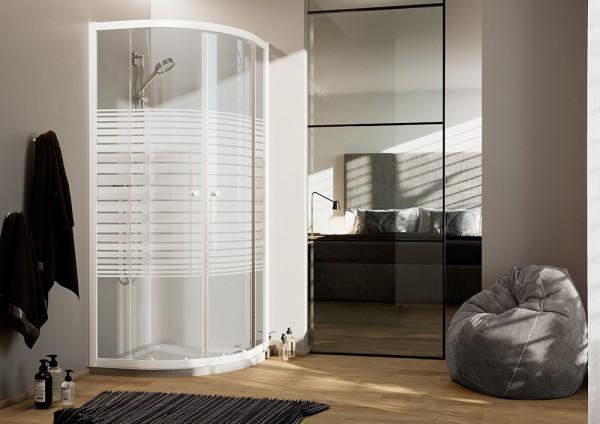 Box doccia 80x80 cm con apertura angolare semicircolare in cristallo serigrafato serie white